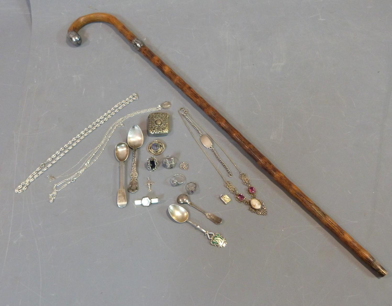 Collection of silver items, jewellery and white metal topped and collared walking cane, cameo and