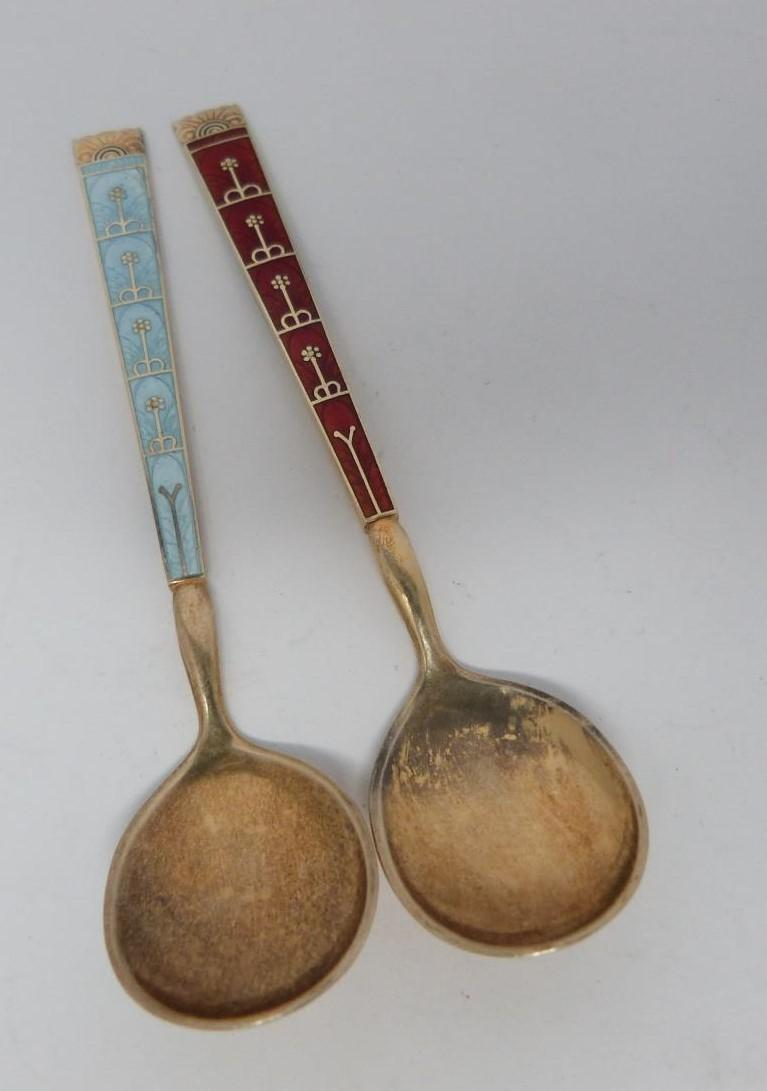 A collection of silver and enamel spoons, Norwegian and English, three spoons in a case, - Image 10 of 17