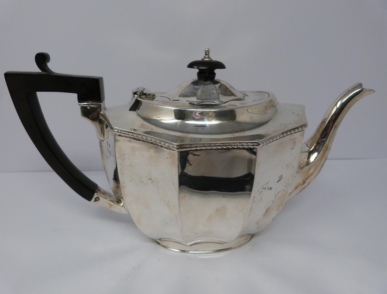 A 3 piece silver service; coffee pot, water jug and large tea pot, coffee pots William Devenport, - Image 9 of 11