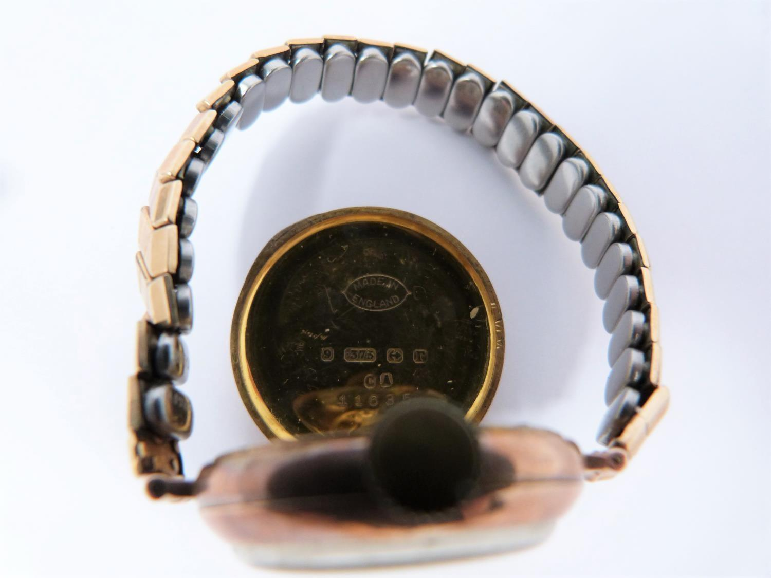 A 9ct rose gold cased watch with stretch gold filled strap, case has full hallmarks for - Image 5 of 10