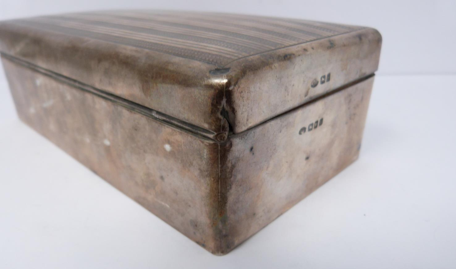 Two silver cigarette cases and a silver cigarette box, rectangular engine turned decoration case, - Image 6 of 14