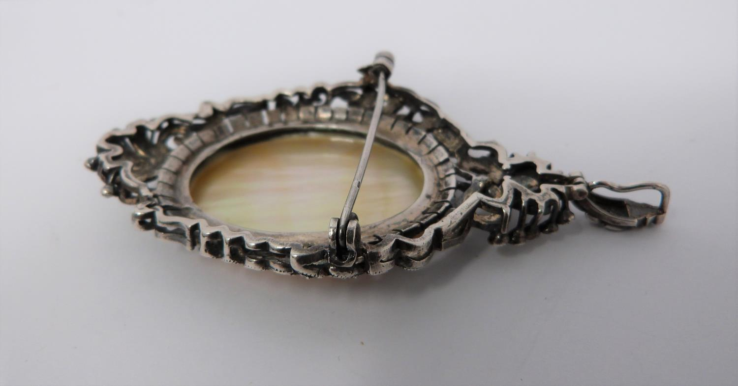 A silver mother of pearl cameo brooch/pendant with Marcasite stones with four other vintage - Image 5 of 6
