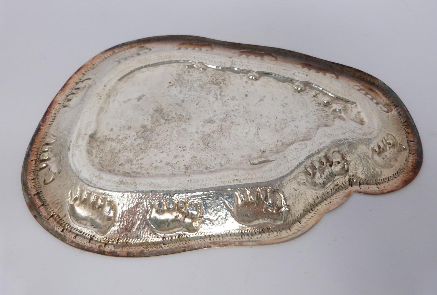 A collection of silver and white metal items including, trays and dishes, two pierced dishes one - Image 10 of 13