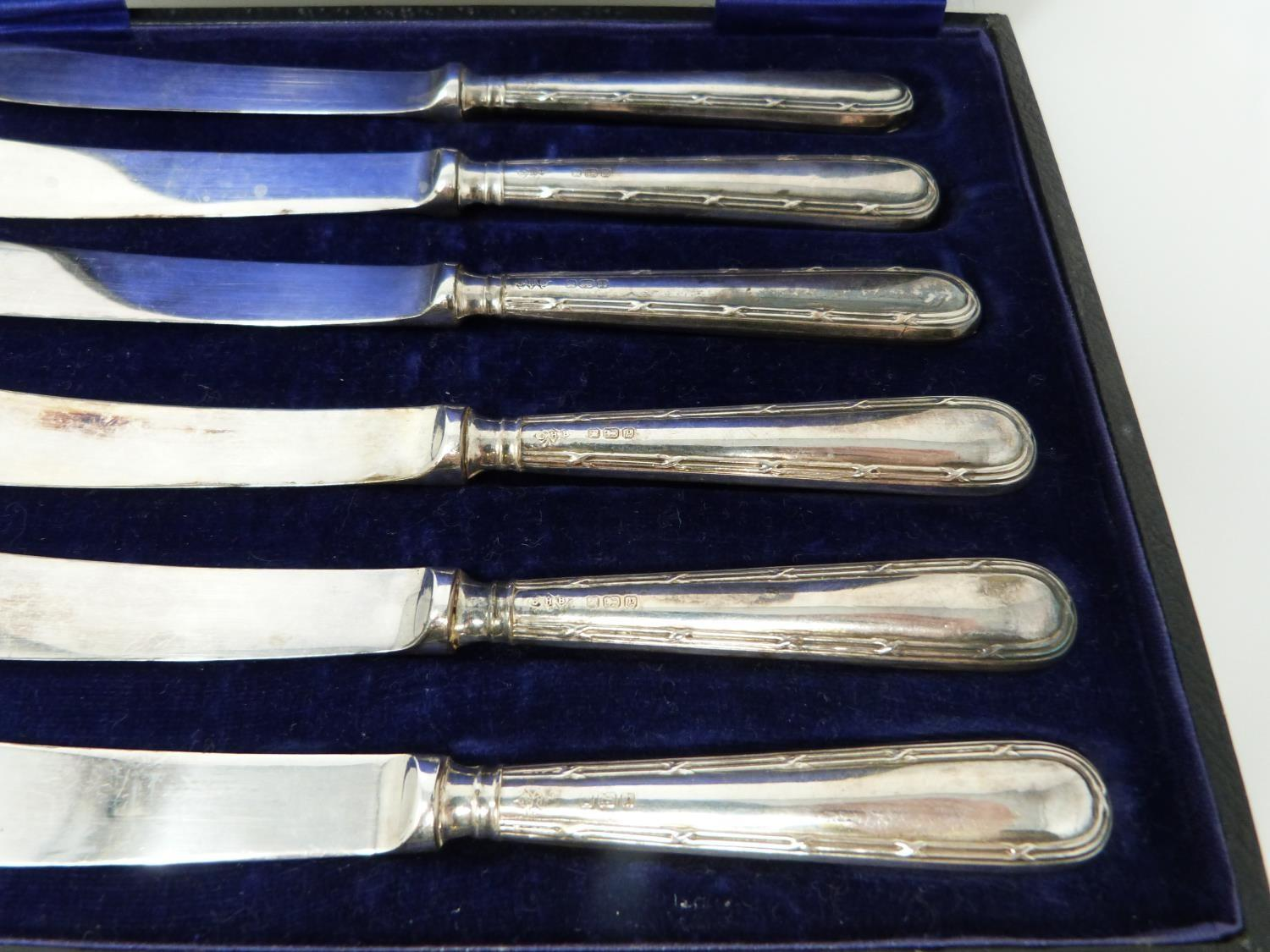 3 cases of silver handled knives, two sets, small knives, epns blades, silver, hollow handles ( - Image 13 of 13