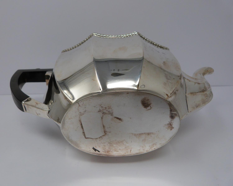 A 3 piece silver service; coffee pot, water jug and large tea pot, coffee pots William Devenport, - Image 4 of 11