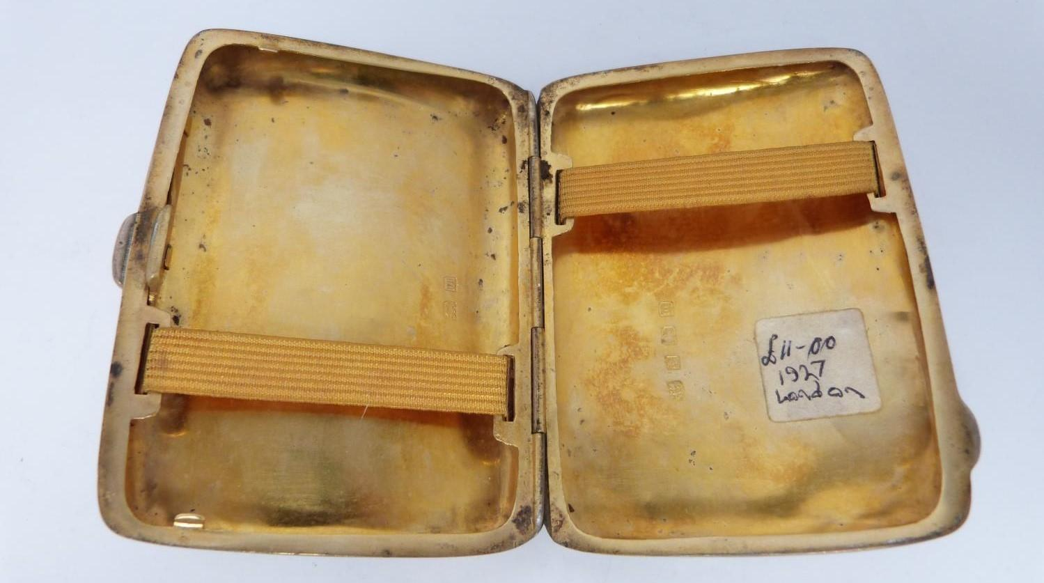 Three monogrammed silver cigarette cases, large case, birmingham 1920, Charles S Green & Co Ltd. - Image 10 of 10