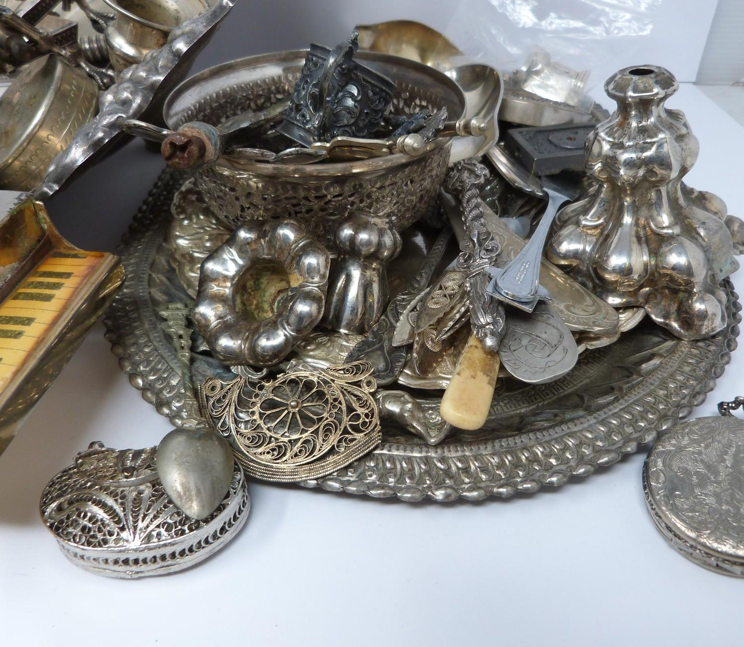 A collection of silver plate and other metalware including, trays, apostle spoons, bowls and cutlery - Image 5 of 5