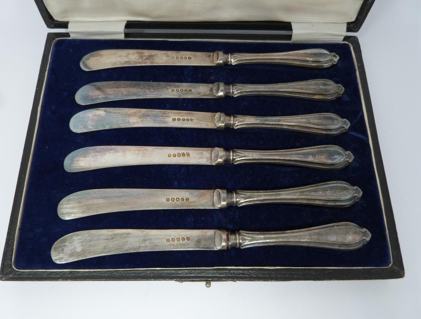 3 cases of silver handled knives, two sets, small knives, epns blades, silver, hollow handles ( - Image 5 of 13