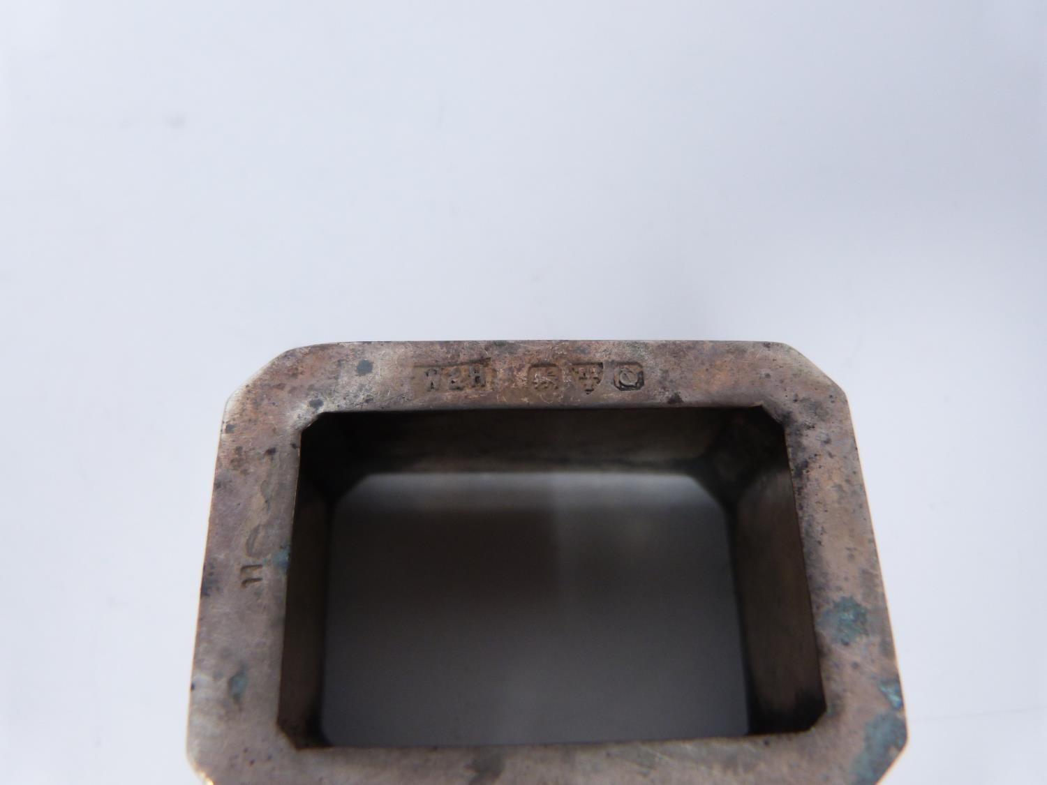 Three silver ash trays, a silver lidded box, silver salt and silver plated floral dishes, box: - Image 7 of 7