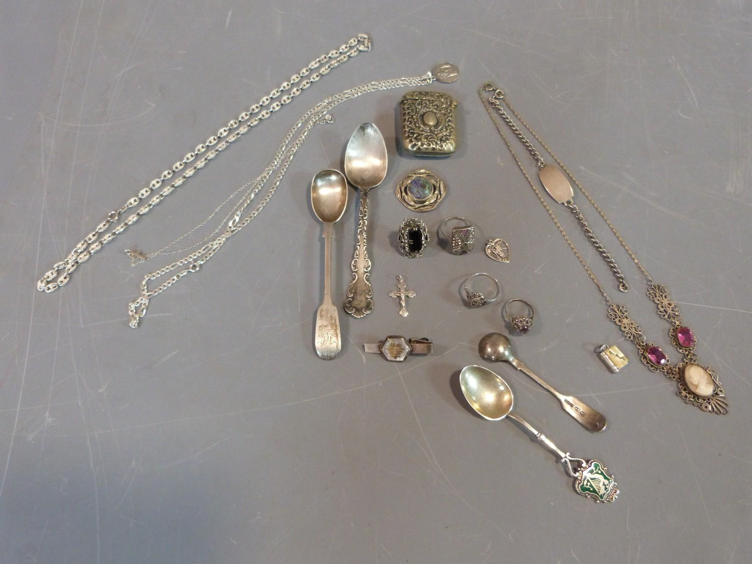 Collection of silver items, jewellery and white metal topped and collared walking cane, cameo and - Image 2 of 9