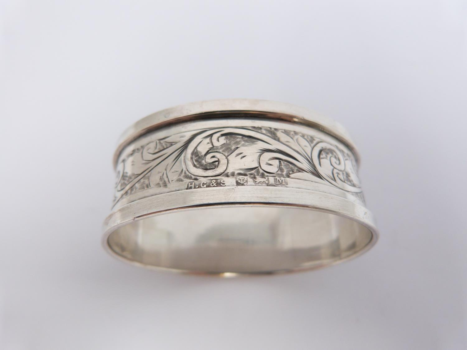 Two silver and cut glass sugar sifters, two silver pierced dishes and a silver engraved napkin ring, - Image 7 of 7
