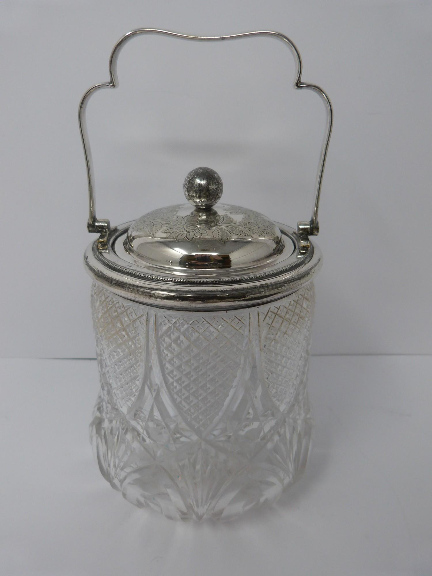 Collection of silver plate including, cruet, cut glass buiscuit barrel, cased butter and cut glass - Image 7 of 7