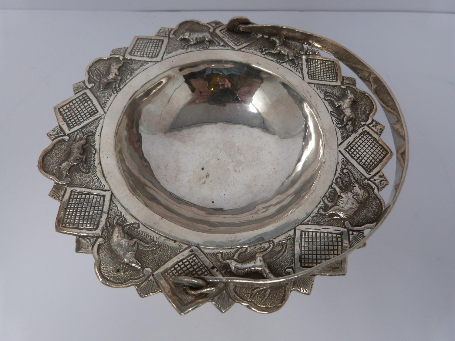 A white metal oriental handled dish, coin, silver fish pendant and white metal thai buckle, basket - Image 6 of 9