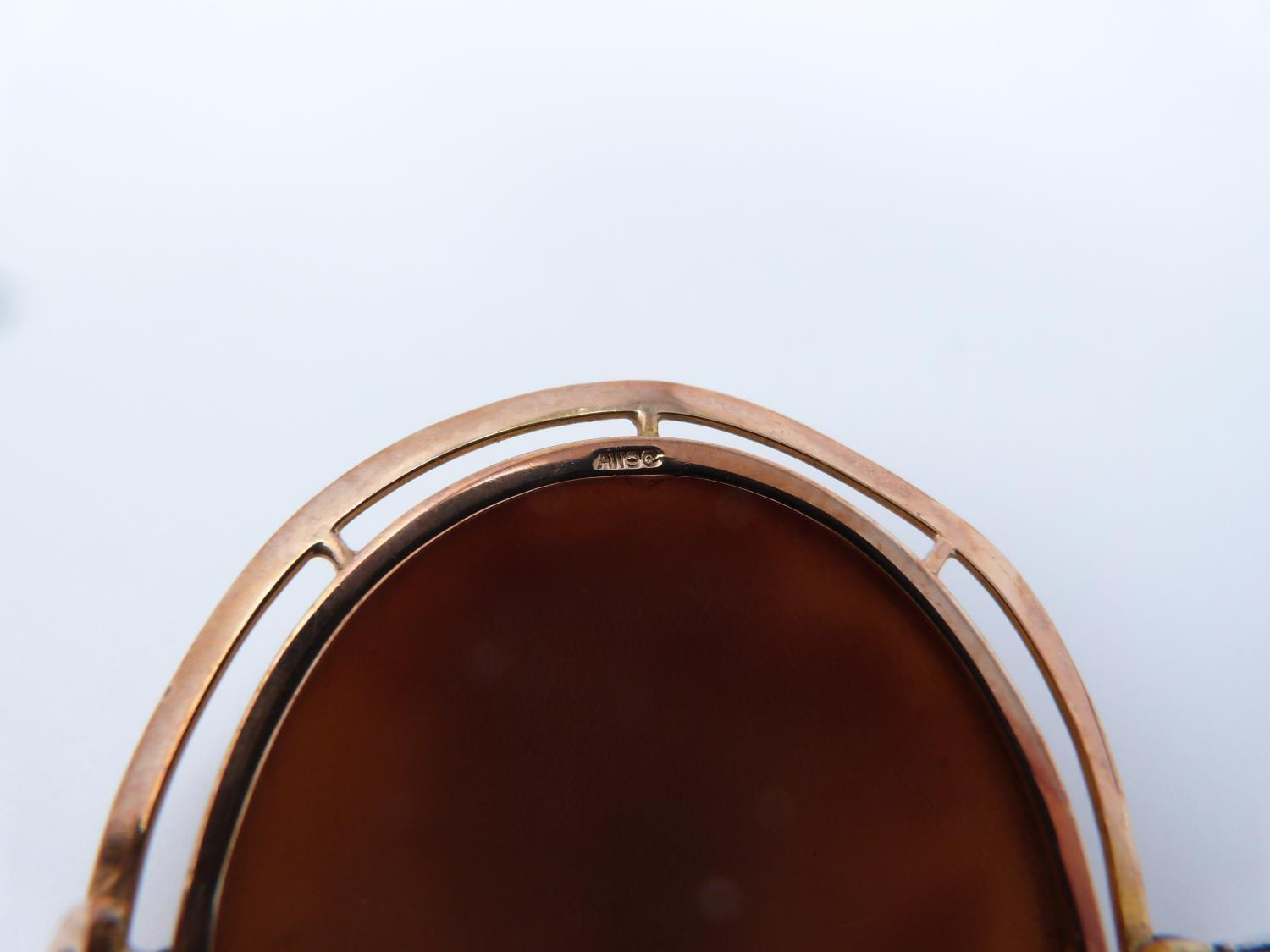 A 9ct Rose gold shell cameo of Dionysis side profile, makers mark AW, 9ct gold mark, he is - Image 7 of 8