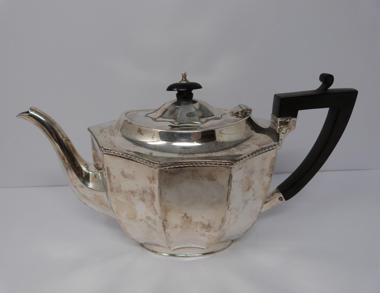 A 3 piece silver service; coffee pot, water jug and large tea pot, coffee pots William Devenport, - Image 8 of 11