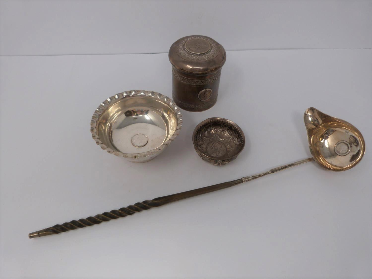 A collection of white metal dishes and a box decorated with coins and a silver and horn twist handle - Image 2 of 13