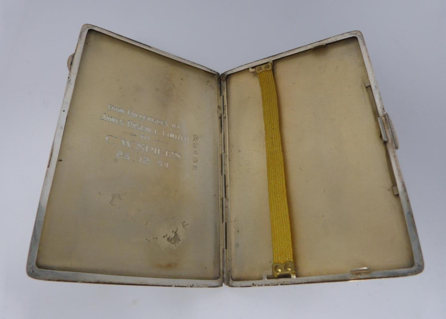 Two silver cigarette cases and a silver cigarette box, rectangular engine turned decoration case, - Image 13 of 14