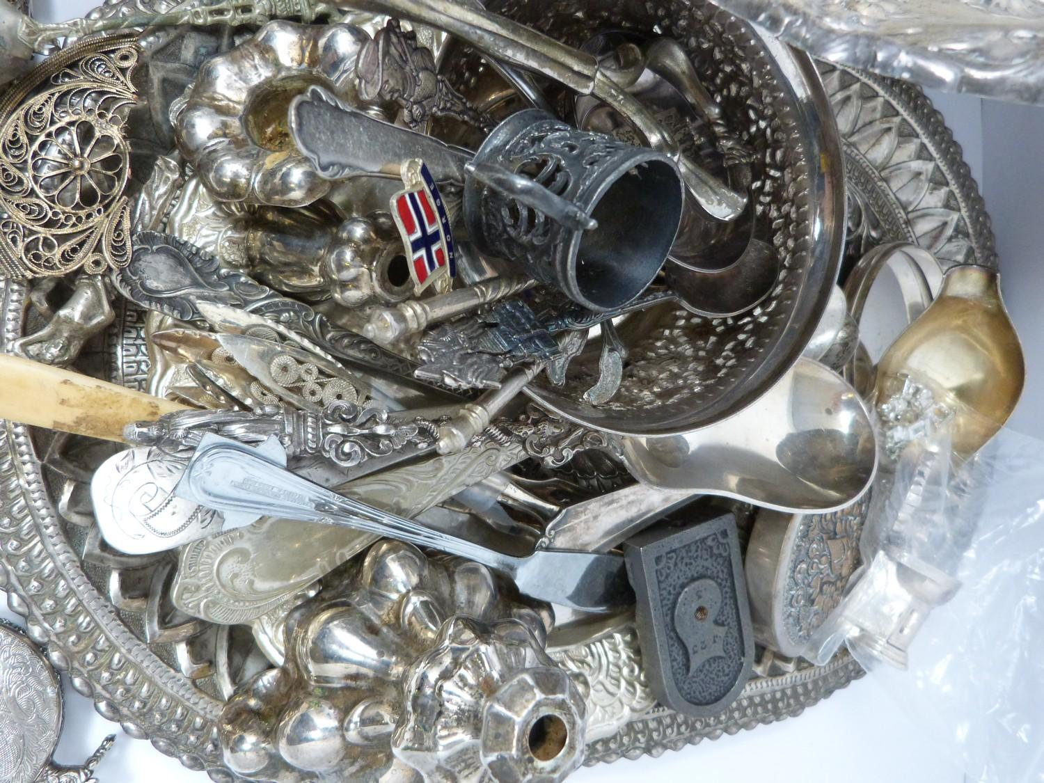 A collection of silver plate and other metalware including, trays, apostle spoons, bowls and cutlery - Image 2 of 5