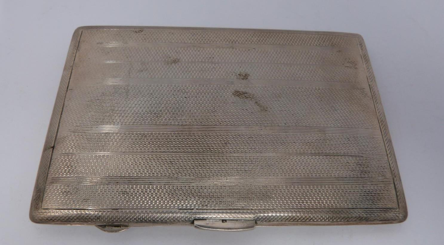 Two silver cigarette cases and a silver cigarette box, rectangular engine turned decoration case, - Image 12 of 14