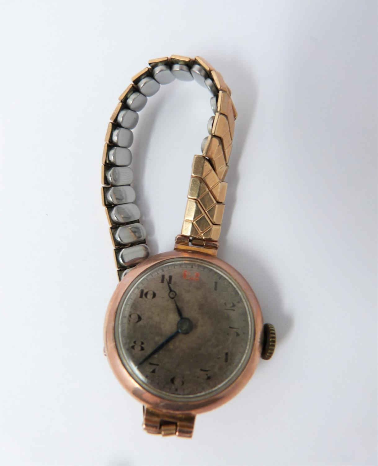 A 9ct rose gold cased watch with stretch gold filled strap, case has full hallmarks for - Image 3 of 10