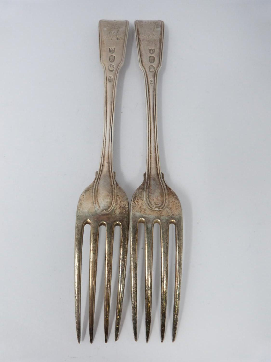 A collection of silver and white metal cutlery, including two Georgian serving spoons, 1791, ch - Image 6 of 8