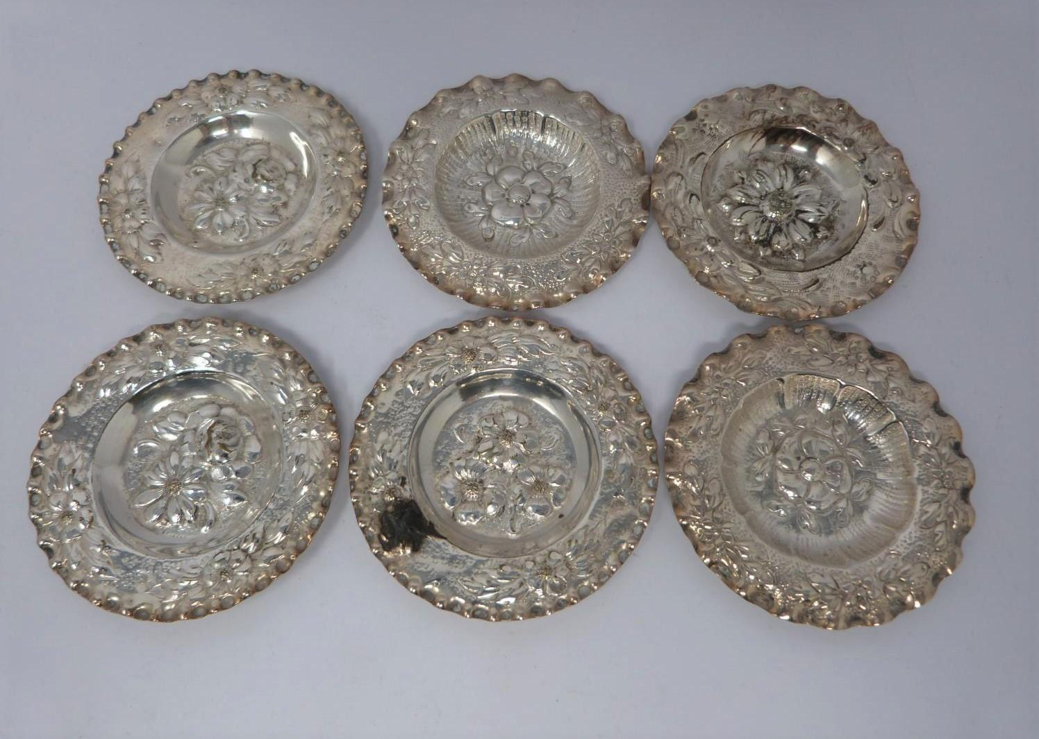 Three silver ash trays, a silver lidded box, silver salt and silver plated floral dishes, box: - Image 5 of 7