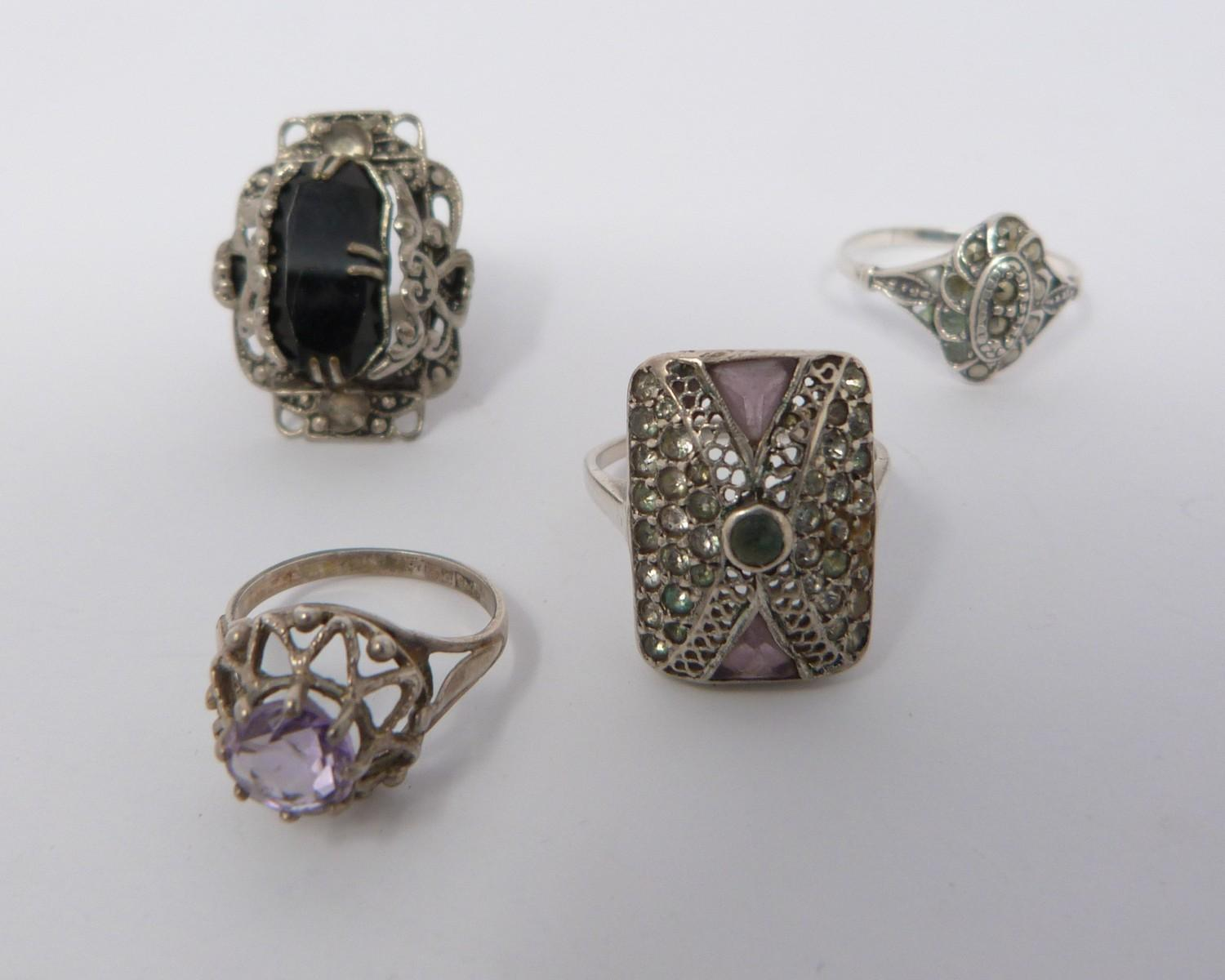 Collection of silver items, jewellery and white metal topped and collared walking cane, cameo and - Image 5 of 9