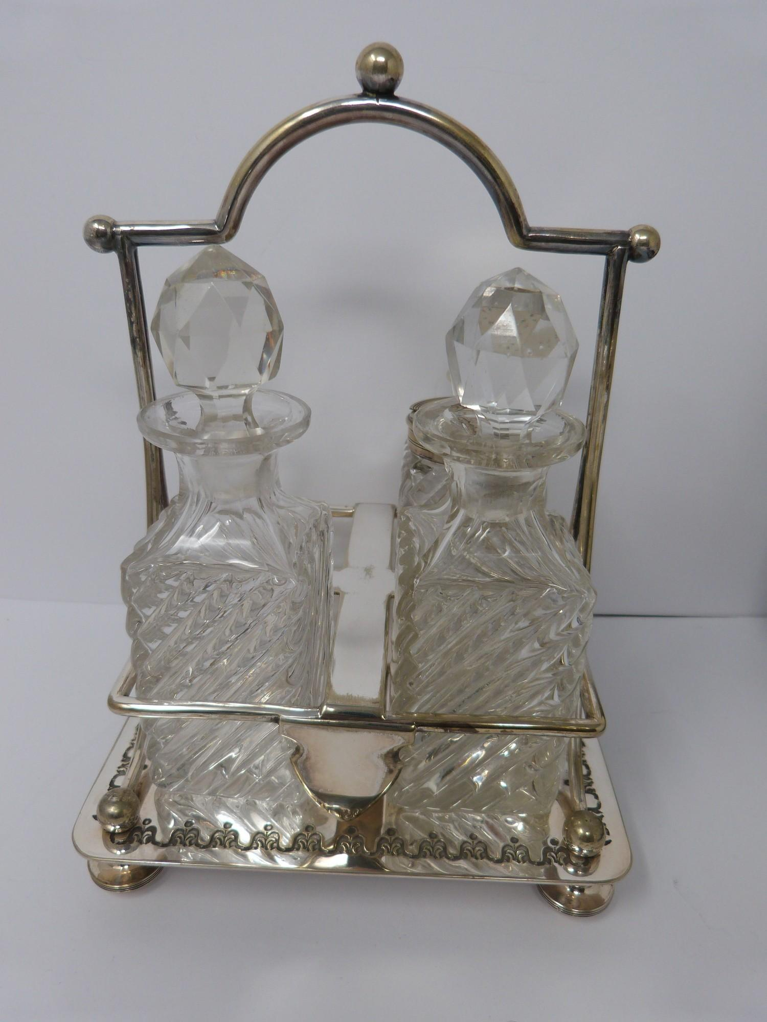Collection of silver plate including, cruet, cut glass buiscuit barrel, cased butter and cut glass - Image 3 of 7