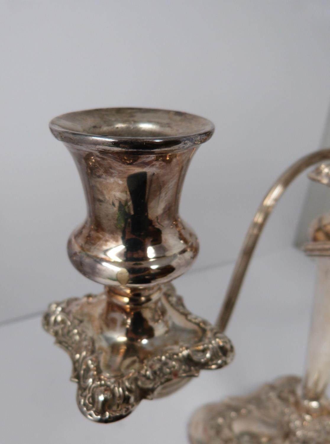 A pair of silver plated candelabra. Repoussé work, elegant swirled design, flame removable finial - Image 9 of 9