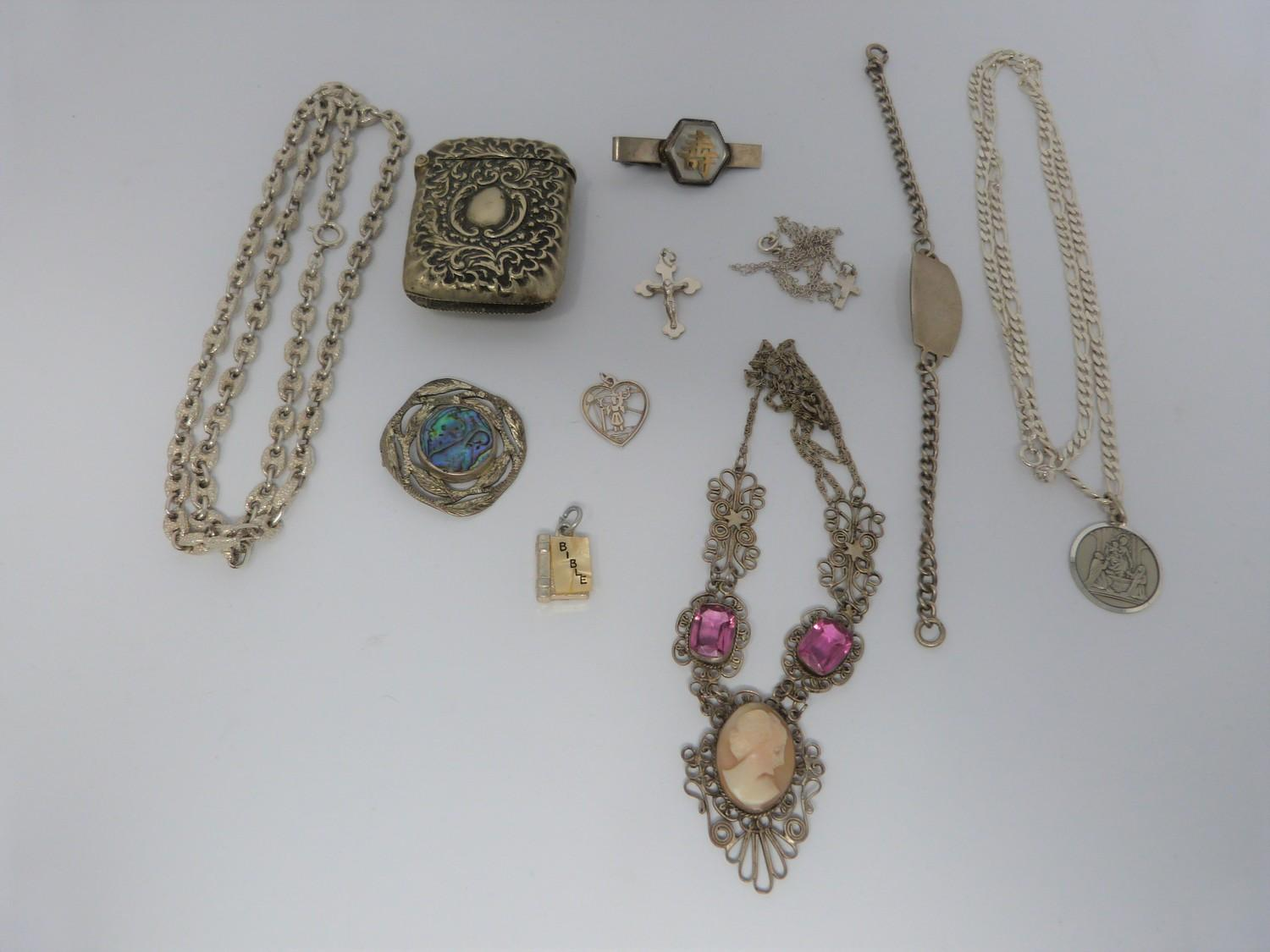 Collection of silver items, jewellery and white metal topped and collared walking cane, cameo and - Image 6 of 9