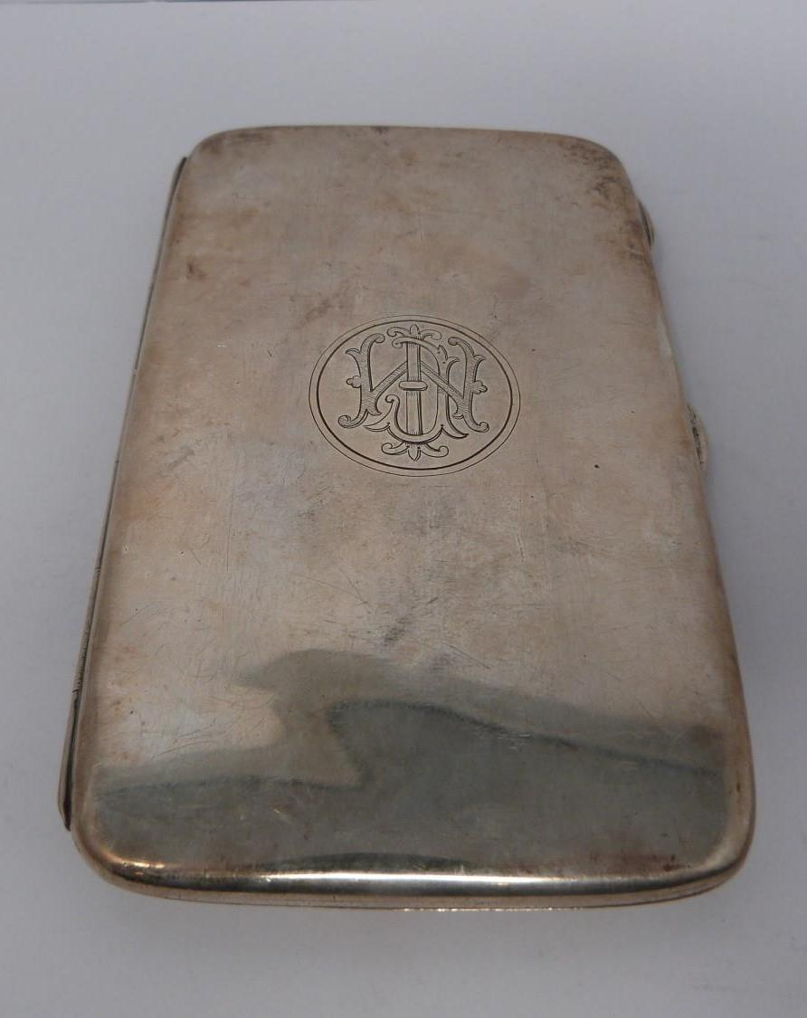 Three monogrammed silver cigarette cases, large case, birmingham 1920, Charles S Green & Co Ltd. - Image 2 of 10