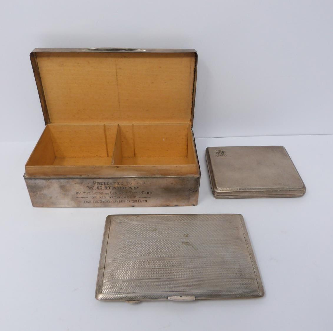 Two silver cigarette cases and a silver cigarette box, rectangular engine turned decoration case, - Image 2 of 14