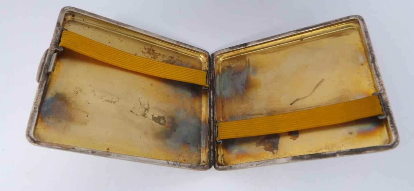 Two silver cigarette cases and a silver cigarette box, rectangular engine turned decoration case, - Image 10 of 14