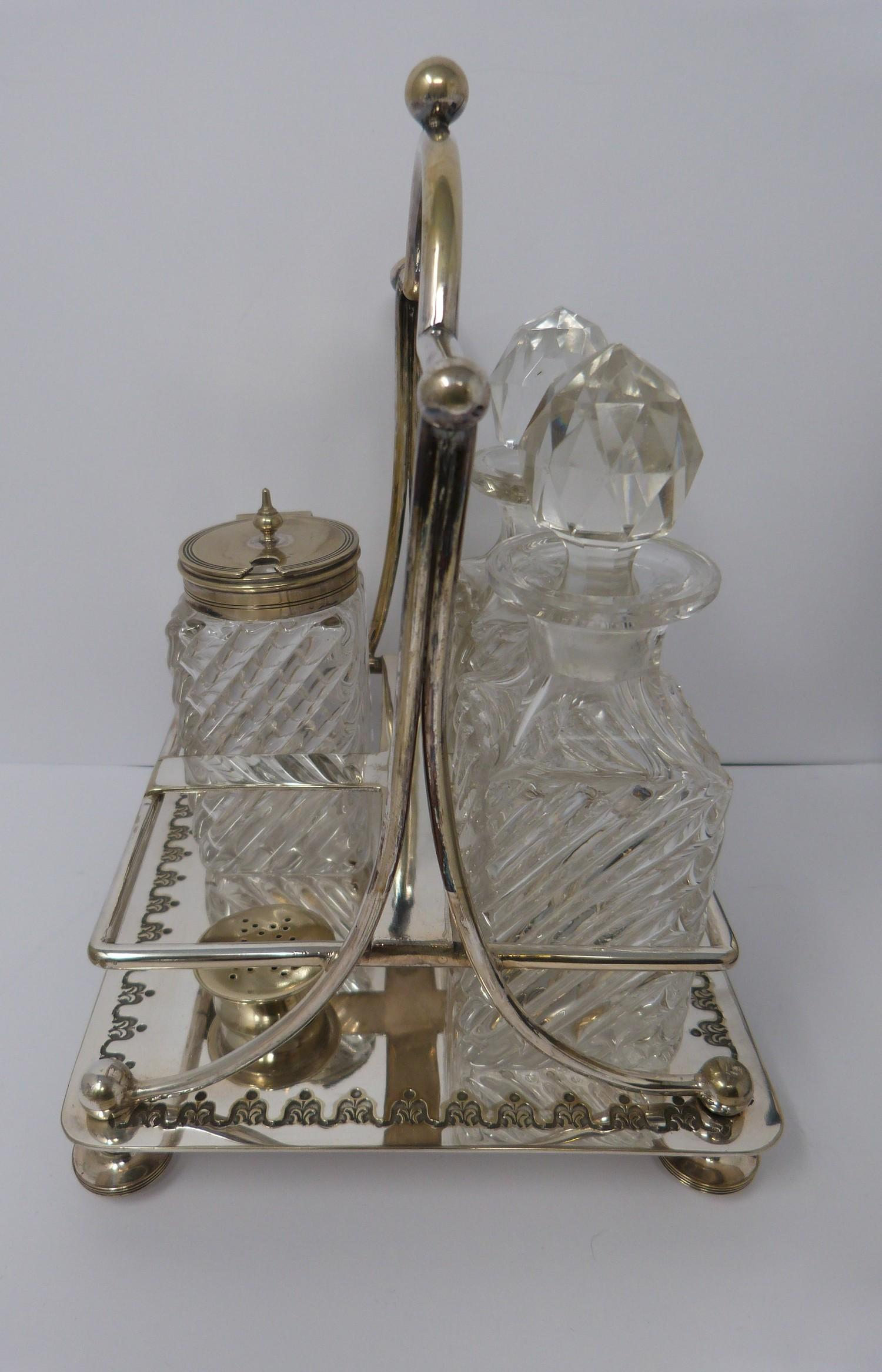 Collection of silver plate including, cruet, cut glass buiscuit barrel, cased butter and cut glass - Image 4 of 7