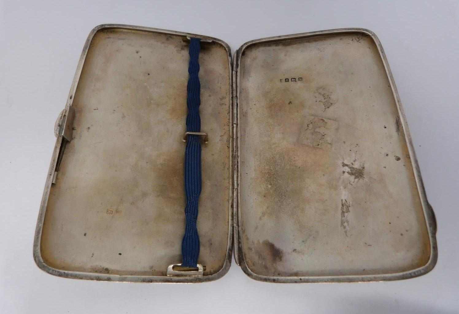 Three monogrammed silver cigarette cases, large case, birmingham 1920, Charles S Green & Co Ltd. - Image 3 of 10
