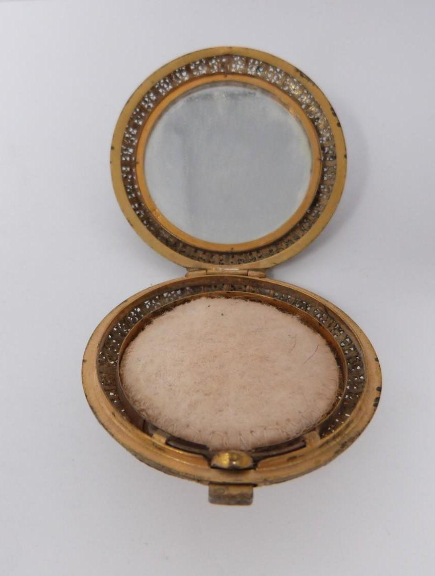 A Portuguese silver gilt filigree and enamel compact, red and white enamel cross on front, - Image 3 of 6