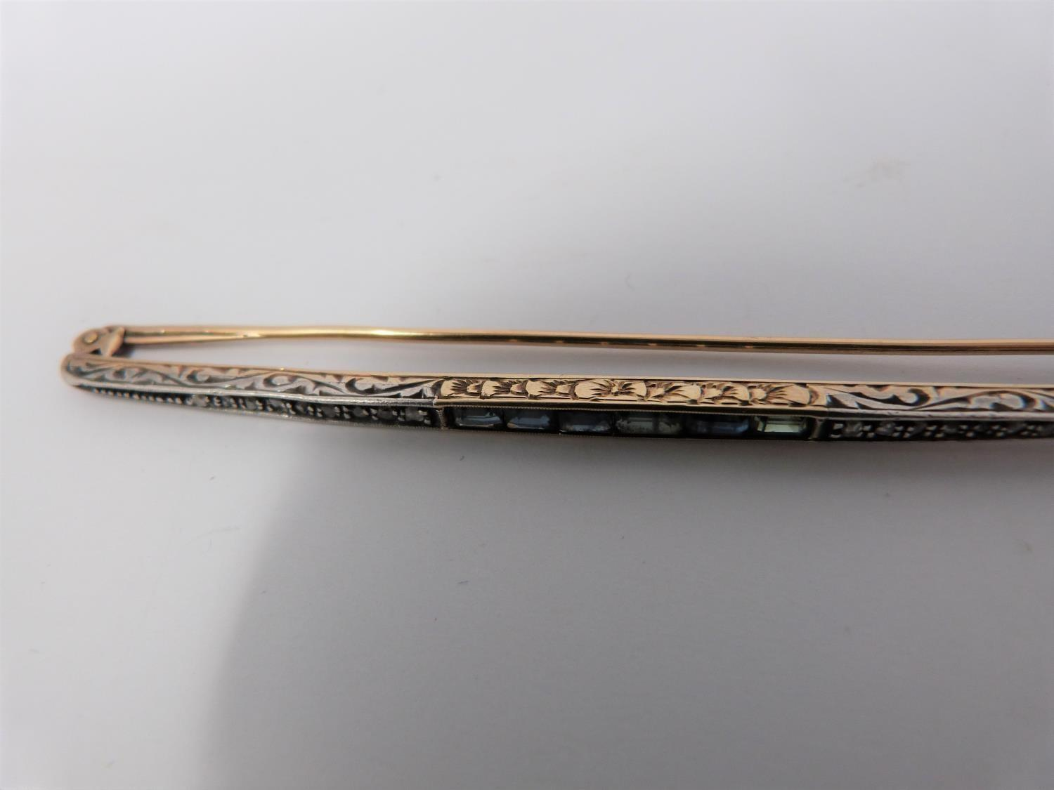 An antique cailbré cut sapphire and rose cut diamond elliptical bar brooch with engraved gallery, - Image 7 of 10