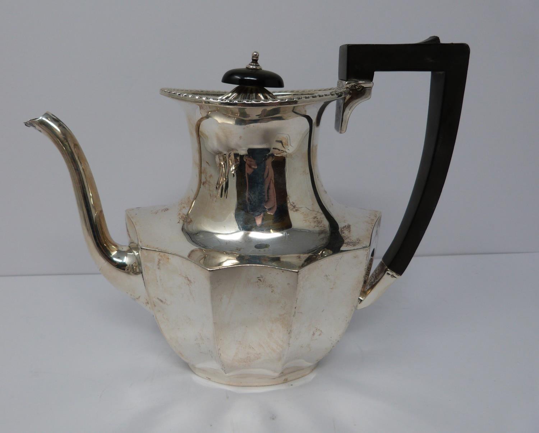 A 3 piece silver service; coffee pot, water jug and large tea pot, coffee pots William Devenport, - Image 2 of 11
