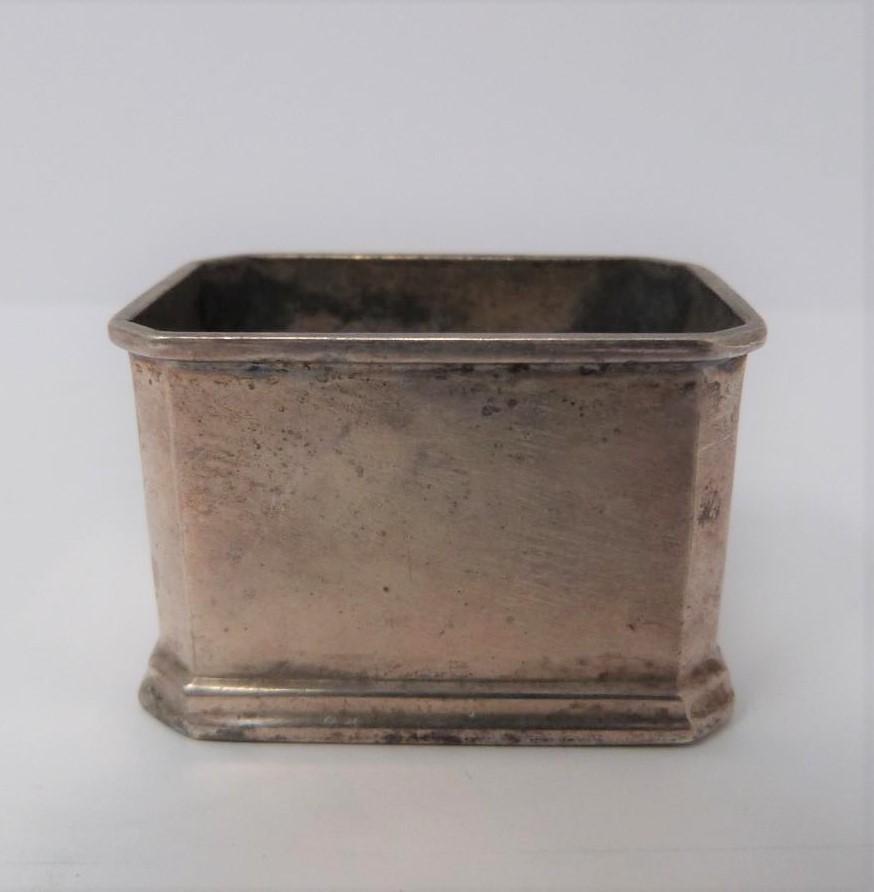Three silver ash trays, a silver lidded box, silver salt and silver plated floral dishes, box: - Image 6 of 7