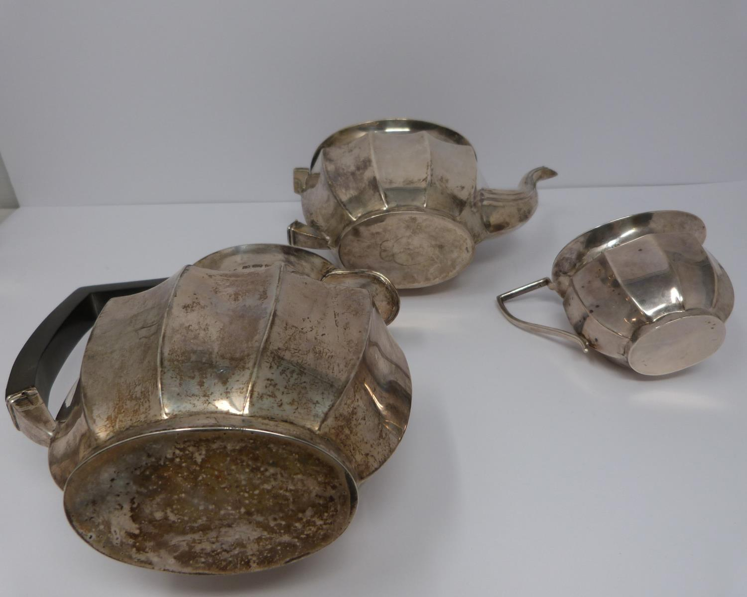A silver six piece tea service with ebony handles and finial, coffee pot, tea pots, water jug, two - Image 10 of 10