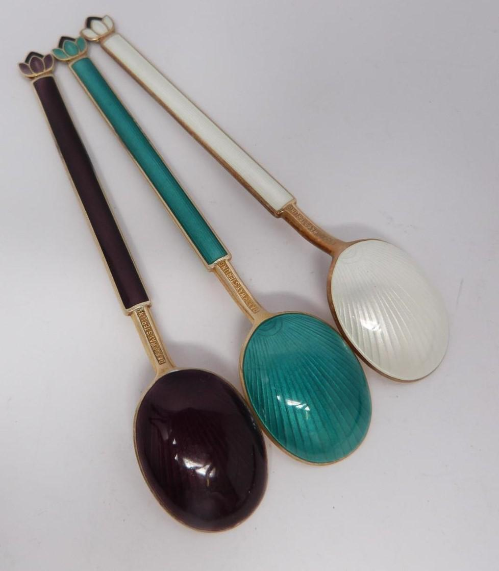 A collection of silver and enamel spoons, Norwegian and English, three spoons in a case, - Image 13 of 17