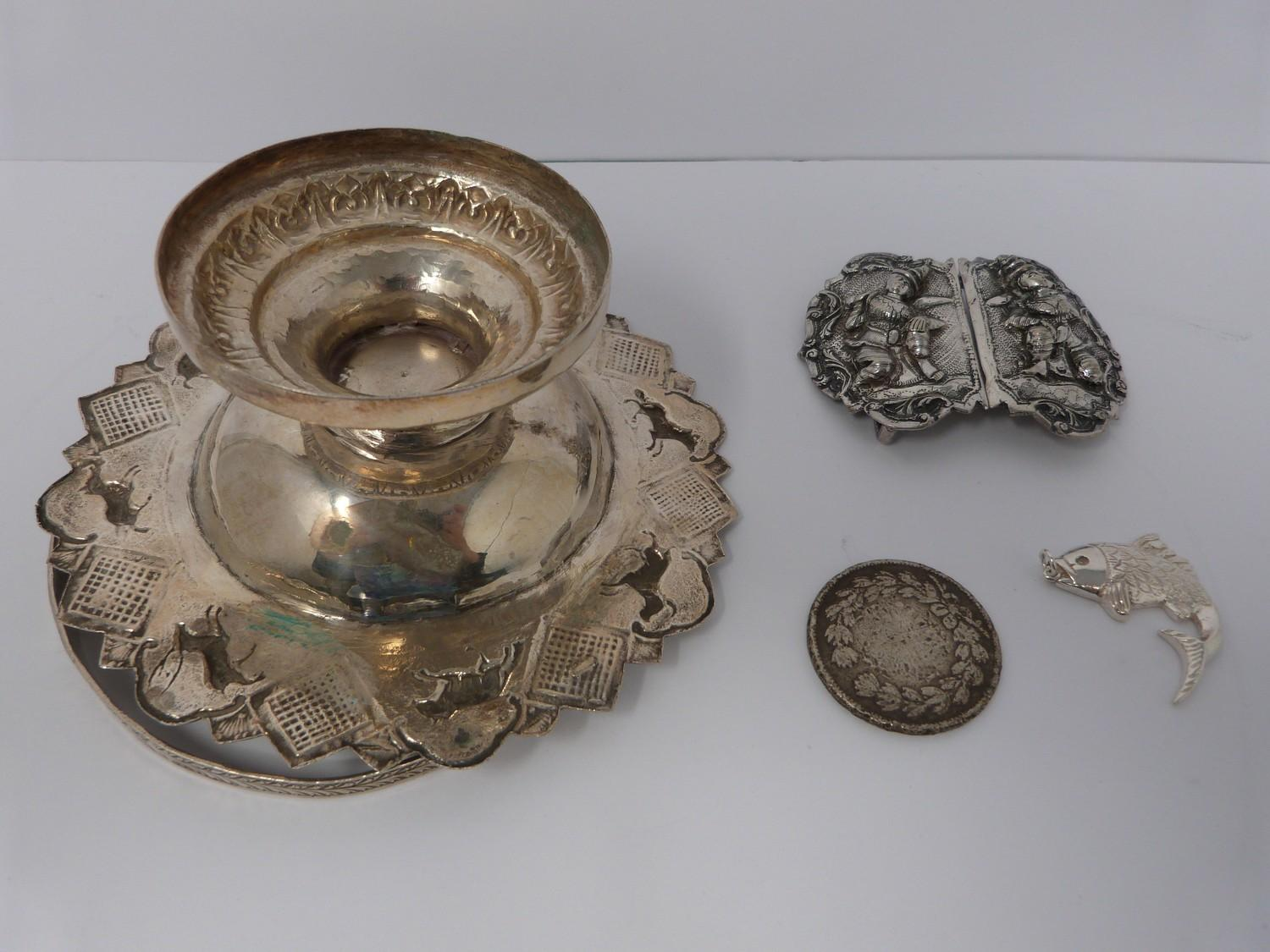 A white metal oriental handled dish, coin, silver fish pendant and white metal thai buckle, basket - Image 2 of 9