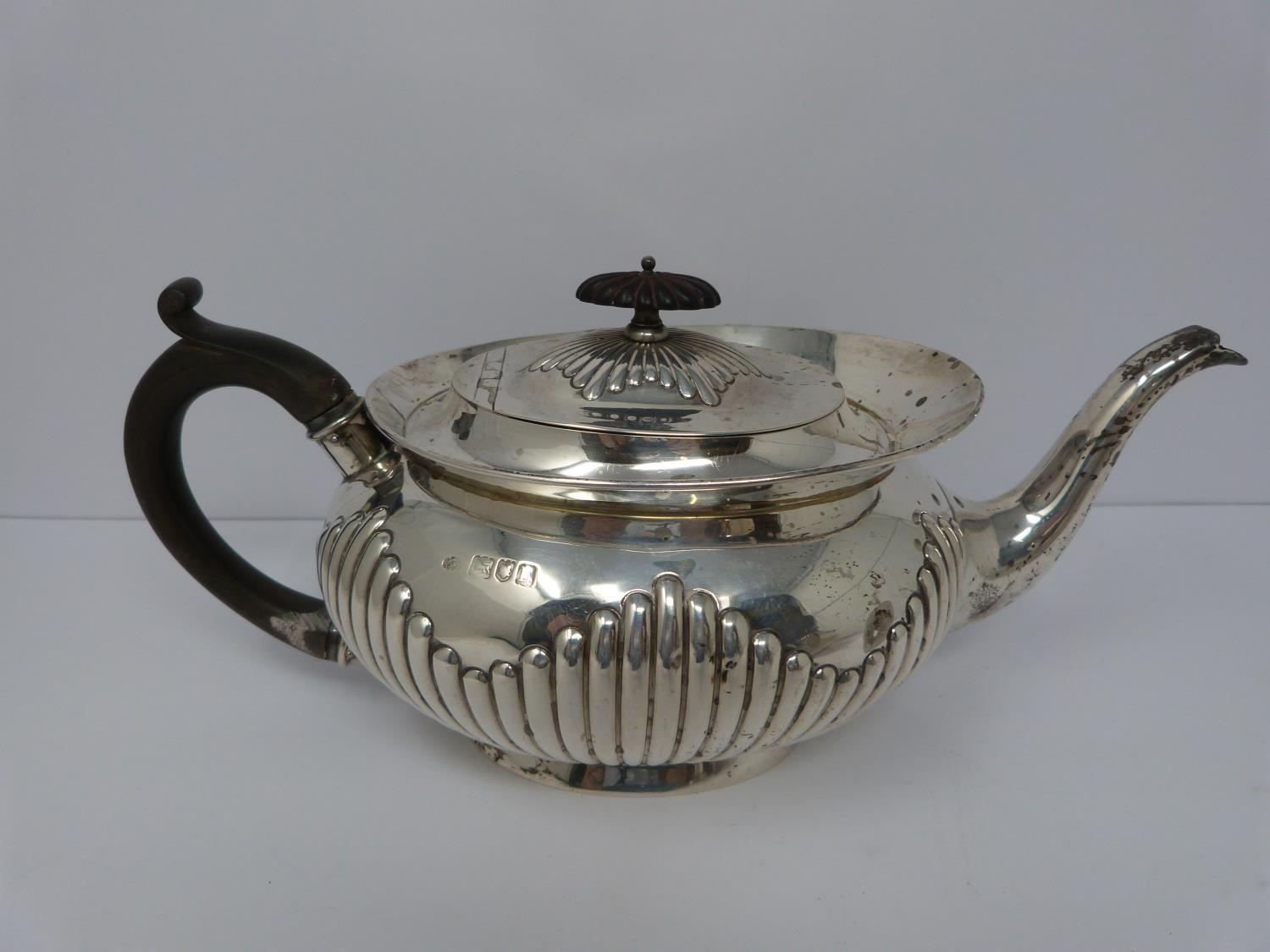 Two Victorian silver tea pots and a silver water jug, Sheffield, London and Sheffield, 1903, - Image 6 of 8