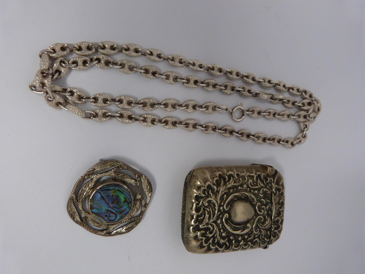 Collection of silver items, jewellery and white metal topped and collared walking cane, cameo and - Image 7 of 9