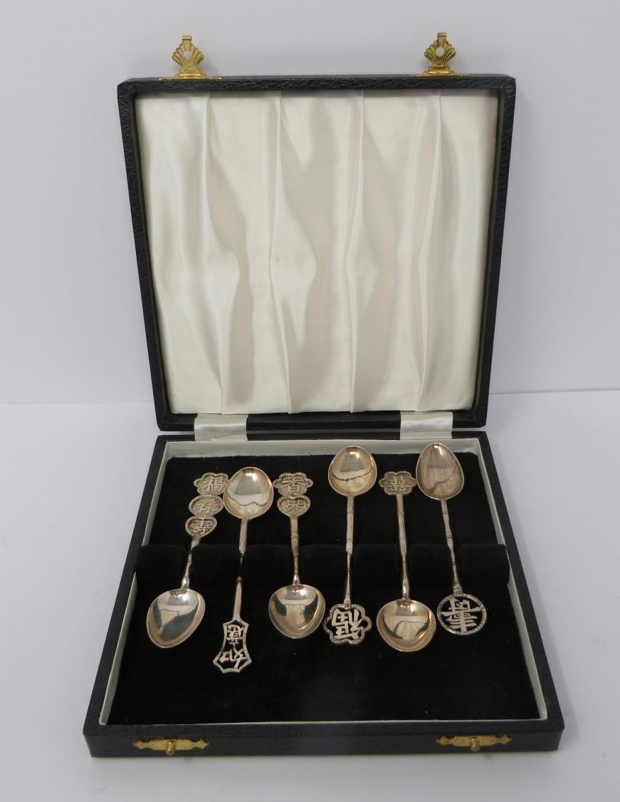 Hong silver spoons in box, cased silver christening set and cased silver cruet set, spoons having - Image 7 of 10