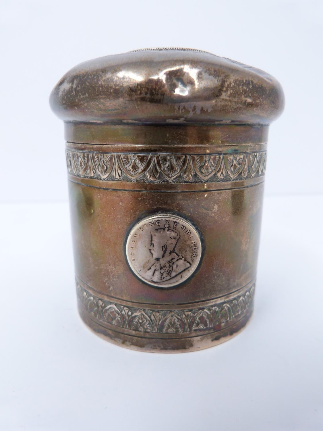 A collection of white metal dishes and a box decorated with coins and a silver and horn twist handle - Image 4 of 13
