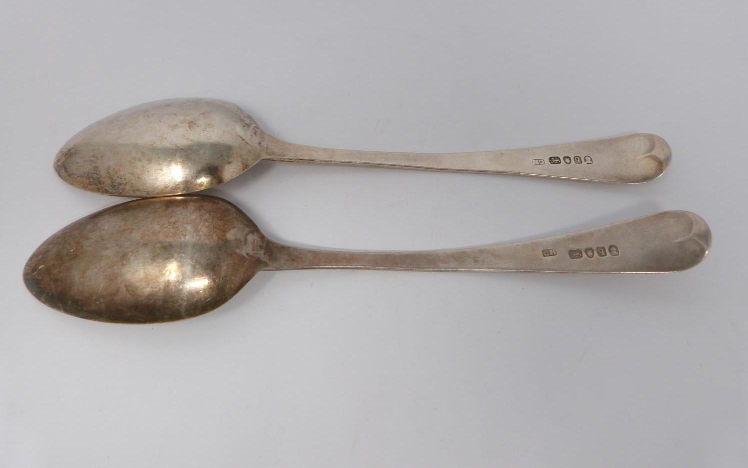 A collection of silver and white metal cutlery, including two Georgian serving spoons, 1791, ch - Image 3 of 8