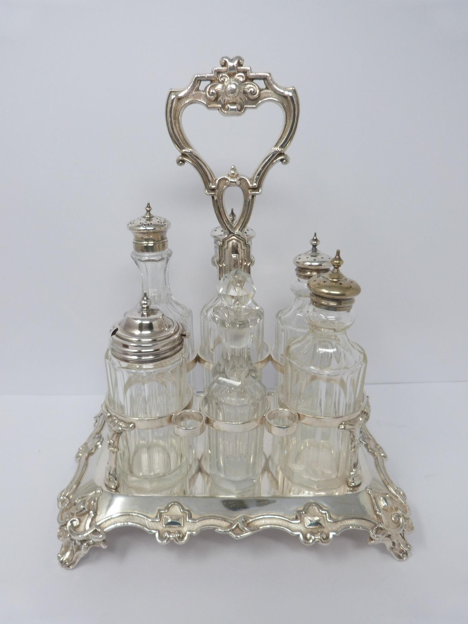 Victorian heavy Sheffield plate and silver plate cut glass cruet set, highly decorated borders, - Image 3 of 7