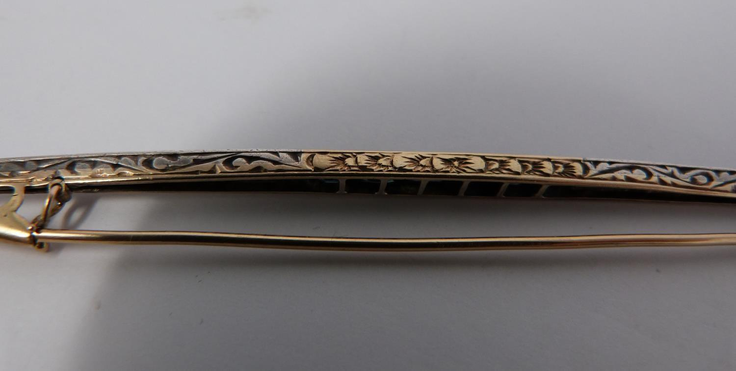 An antique cailbré cut sapphire and rose cut diamond elliptical bar brooch with engraved gallery, - Image 8 of 10
