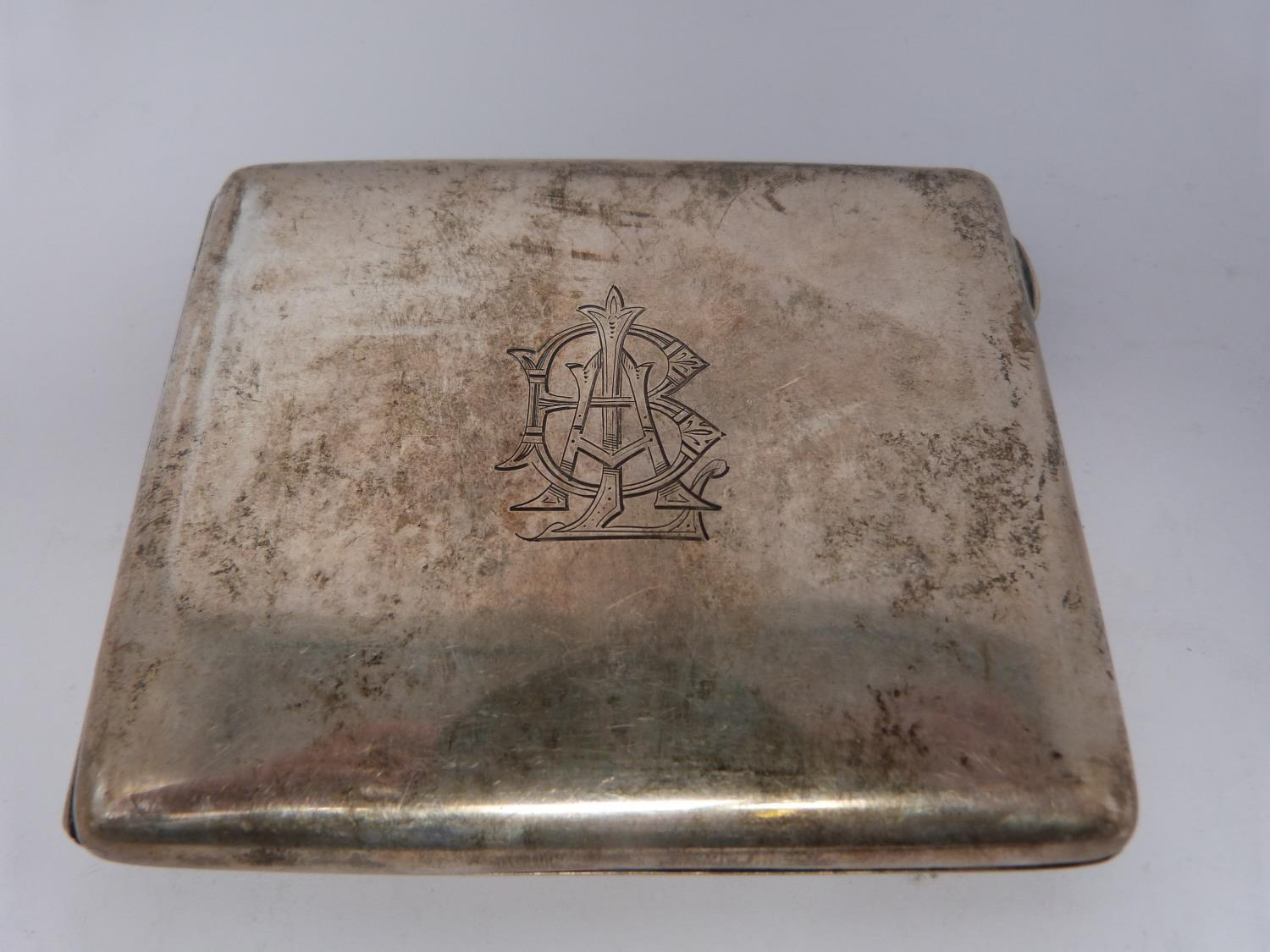 Three monogrammed silver cigarette cases, large case, birmingham 1920, Charles S Green & Co Ltd. - Image 8 of 10